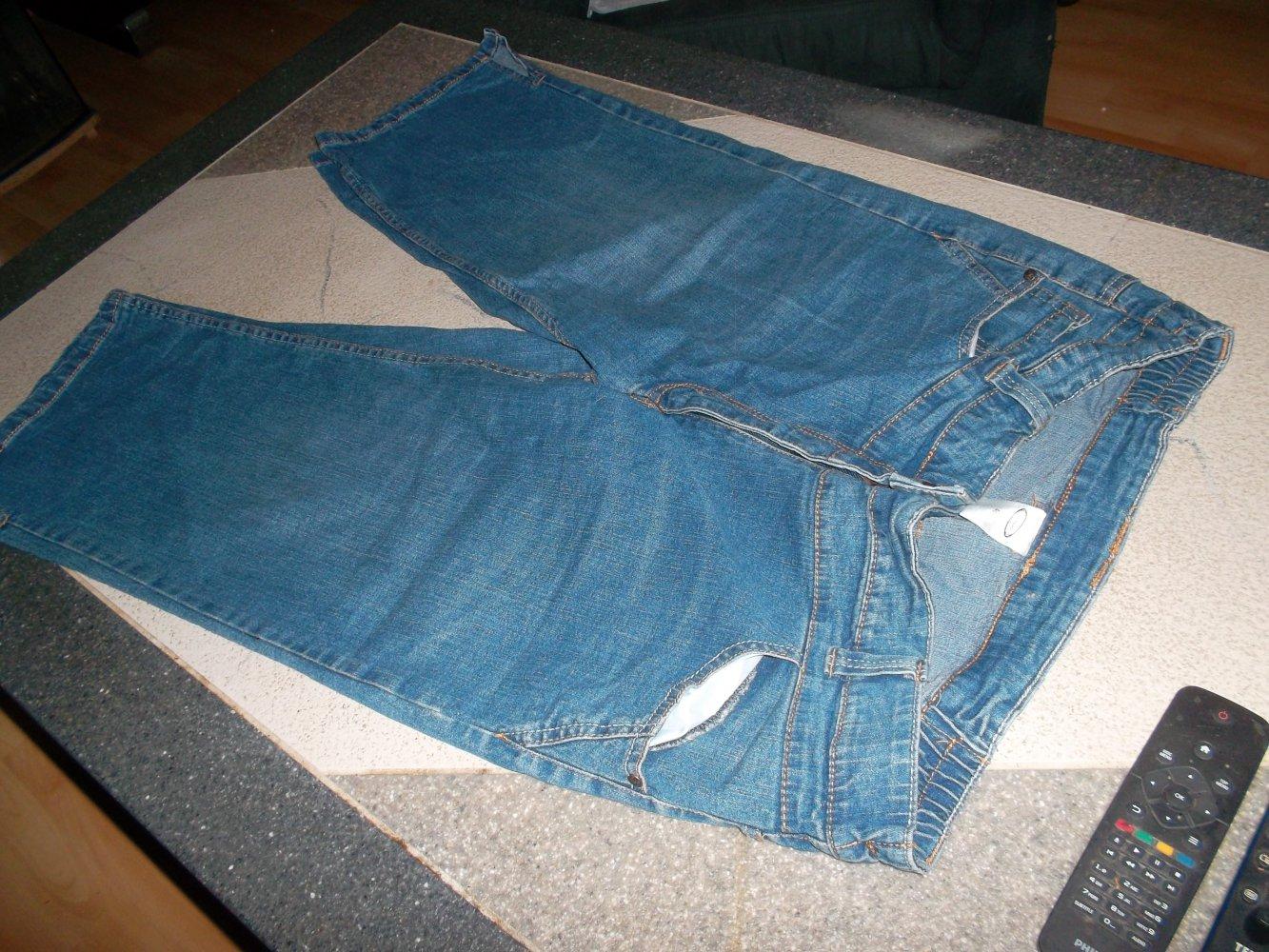 neue 34 jeanshose, blau, grösse 48, gummizugeinsätze