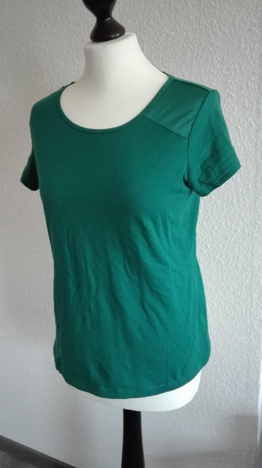 Laura Scott Top Shirt Schößchen Petrol Grün Gr 34
