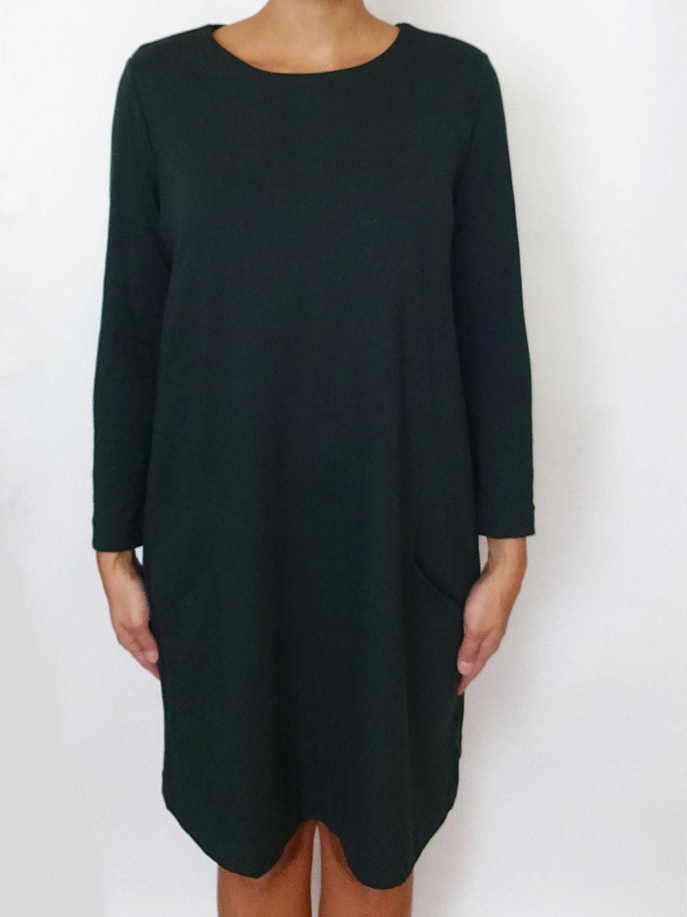Grünes Basic Kleid Herbst Winter Taschen Gr. 20 Gr. M