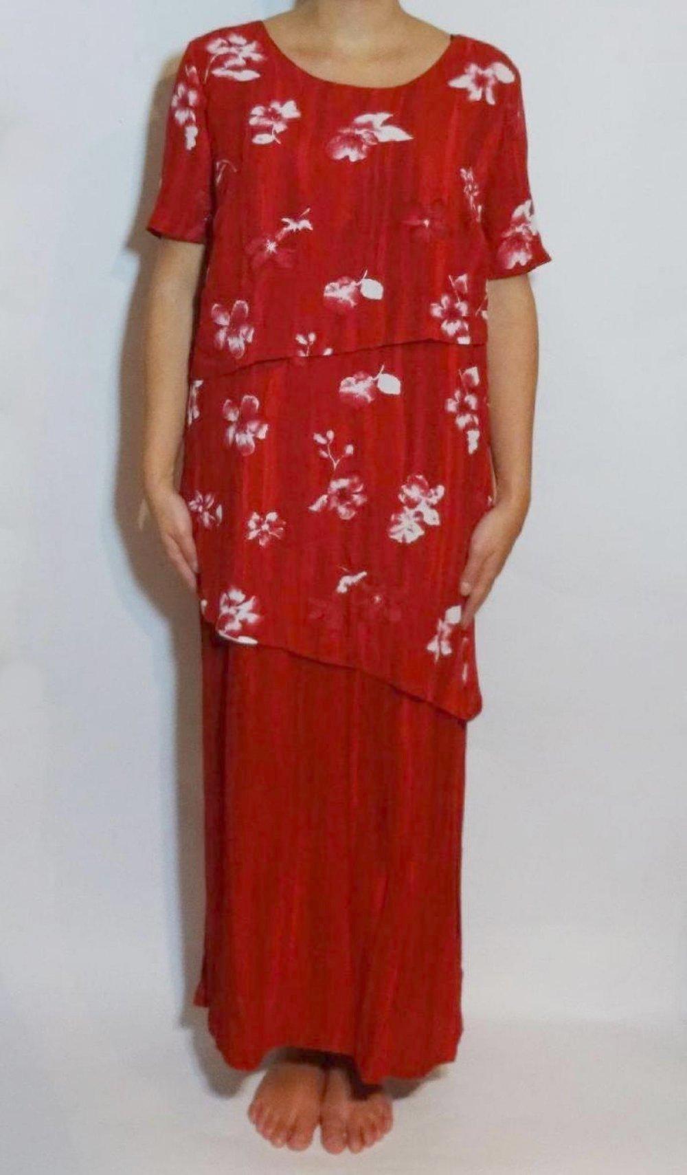 Jm Special Langes Rotes Kleid Stufenkleid 90er Jahre Vintage Floral Blumen Maxikleid Gr 42 Gr M Kleiderkorb De