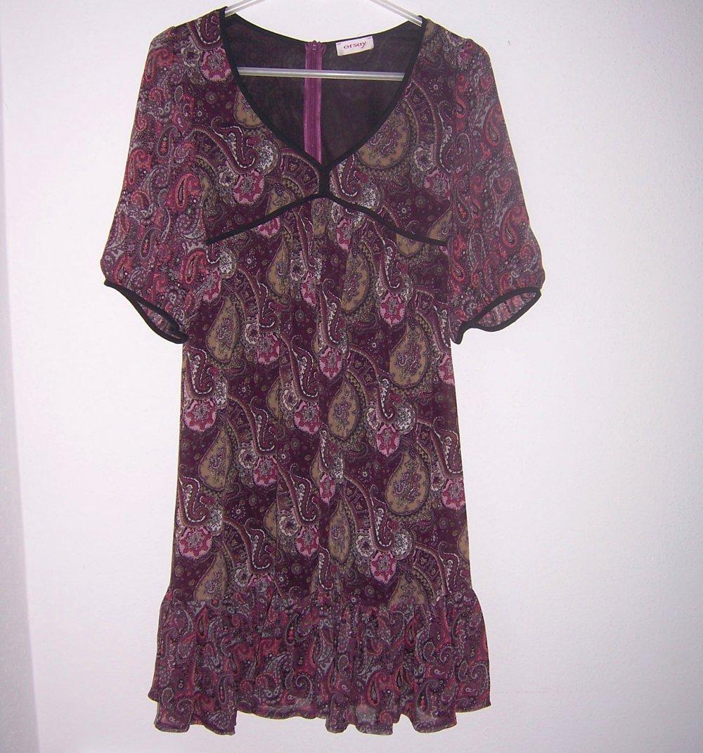 ORSAY Chiffon-Kleid mit tollem Paisley-Muster, lila/rosa/oliv/schwarz, Gr.  18 Sommer/Herbst Kleid Damen Mädchen