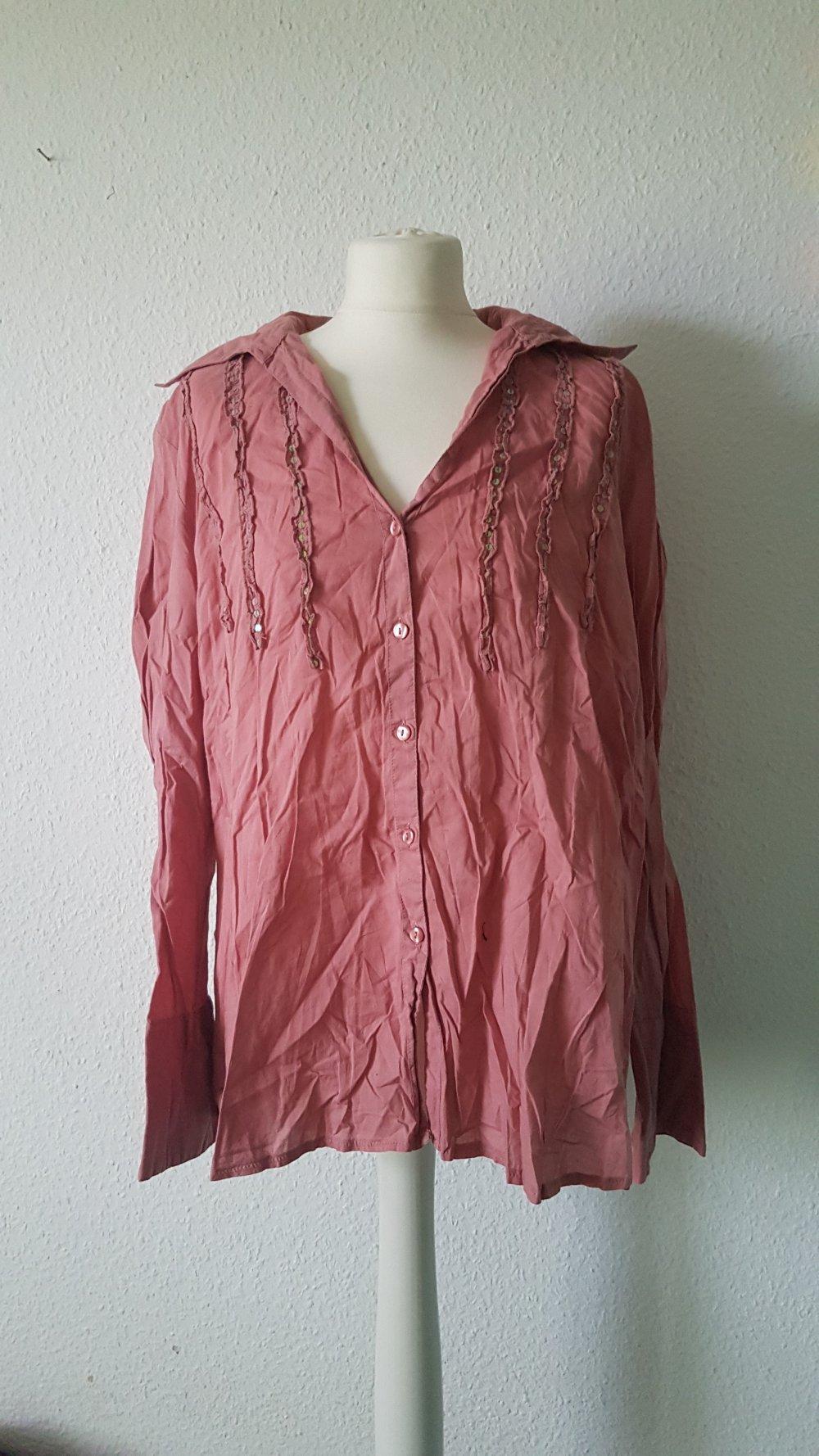 46 Damen Tunika Bluse Blusenshirt Cremeweiß Bunt Gr