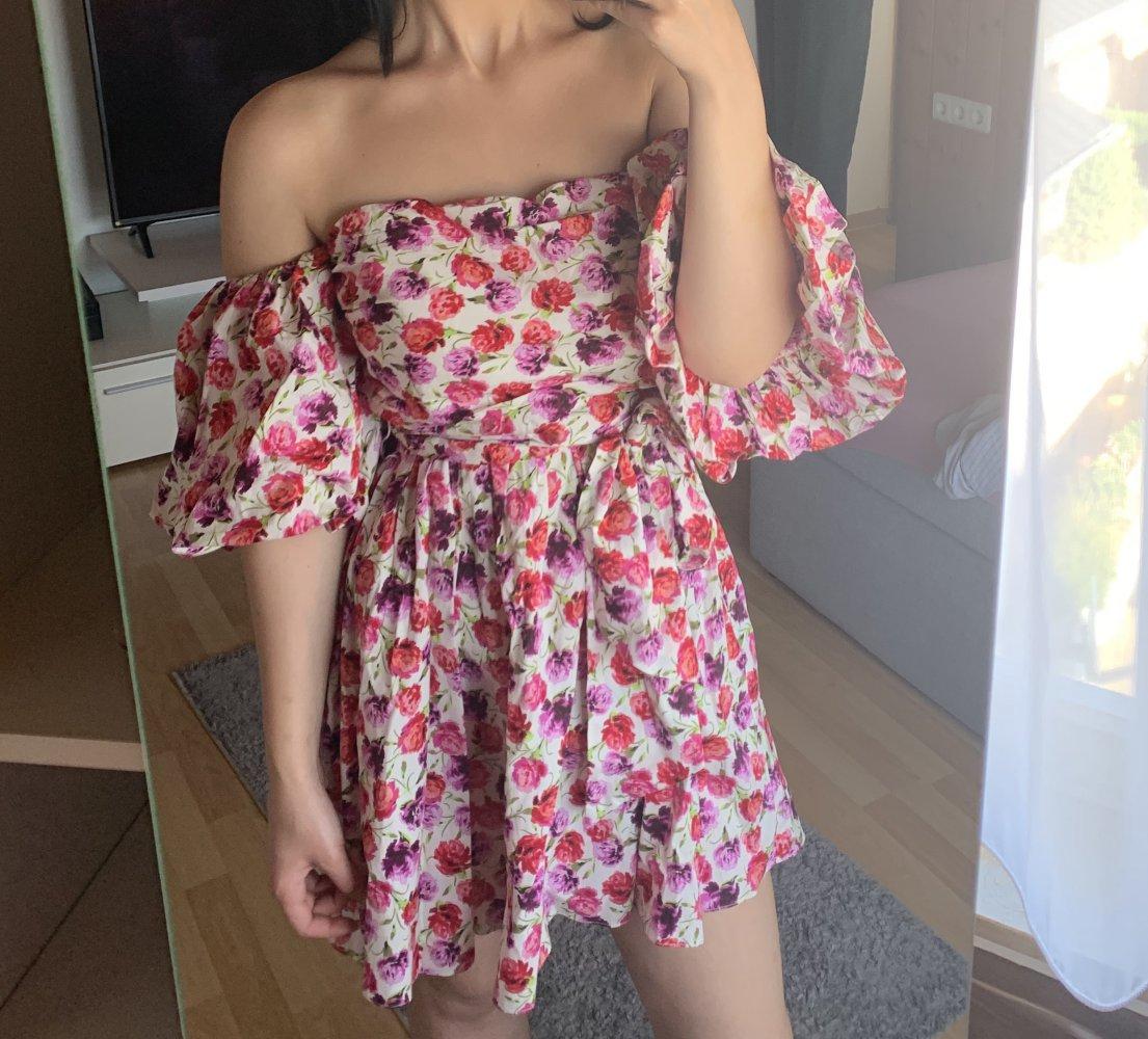 zara off shoulder kleid blumen geblümt breite Ärmel puffärmel ballonärmel  gürtel pink s 36 m 38 neu