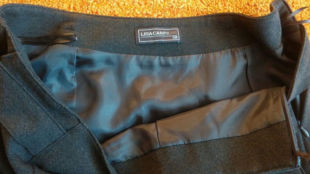 Damen Rock edel verziert mit Reißverschluss /& Taschen Braun Grau S 38
