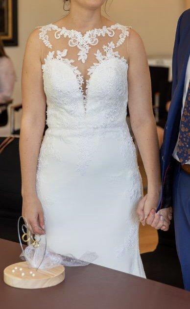 La Sposa Spanische Spitze Hochzeitskleid Standesamt Kleid Ivory Weiss S Kleiderkorb De