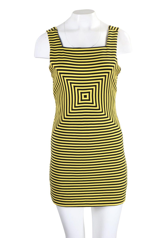 buy online 3f8ad 88f7d Retro-Kleid gelb/schwarz Vintage Gr. 36