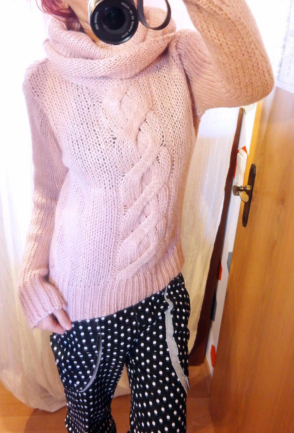 official photos ae6d9 eceab H&M Pullover Rollkragen Grobstrick Wollpullover Mohair rosa rose S M 38 40  warm Winter Strickpullover