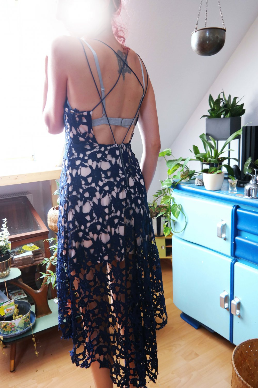 highlow kleid spitzenkleid abendkleid dunkelblau marine spitze blumen s m  36 38 vokuhila