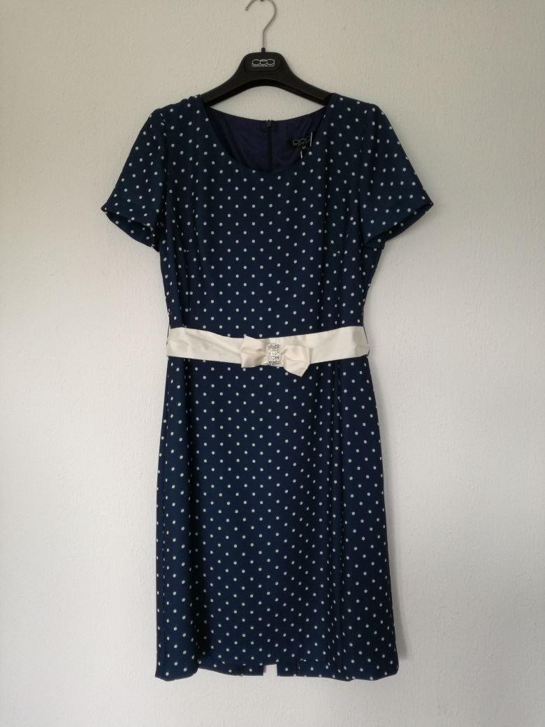 blaues pünktchen--kleid mit gürtel gr. 40