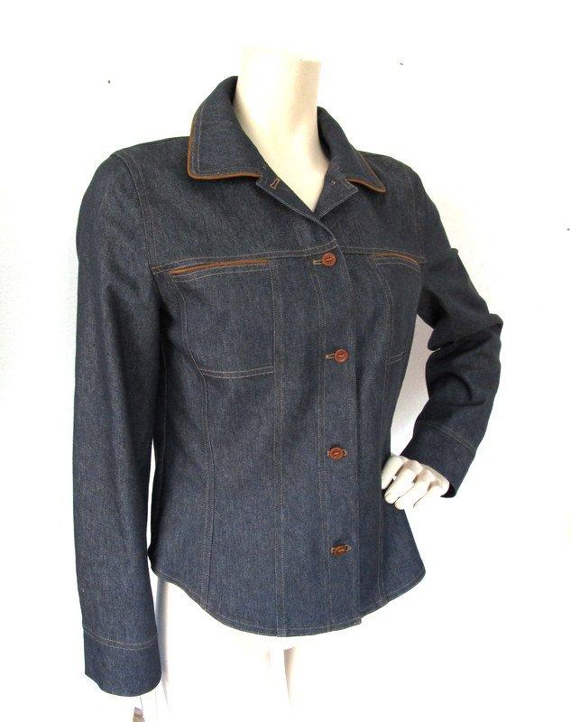 Gerry Weber schöne klassische Jeans Jacke Gr.38 Blau & Braune Paspelstreifen neu