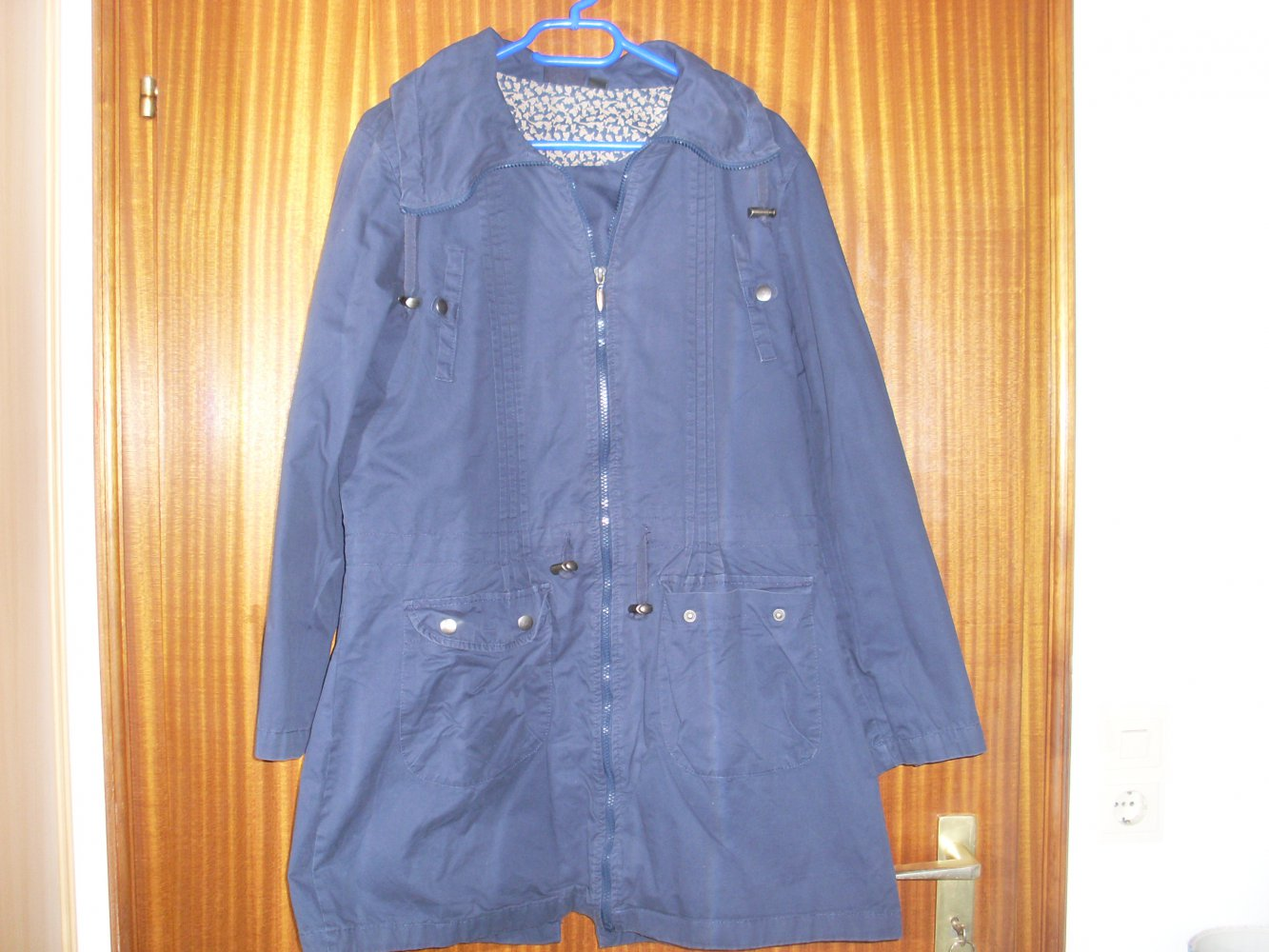 L NEU Woman fashion Damen Shirtjacke mit Kapuze blau Gr