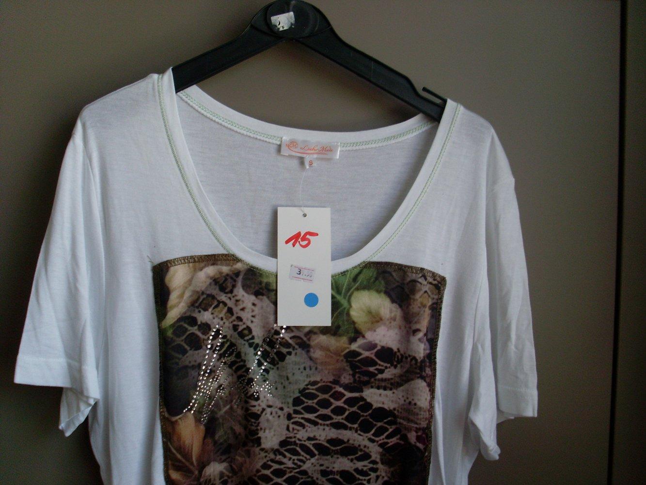 12870f435dcb50 NEU: Damen T- Shirt weiß mit Muster Gr. S v. Lieber Mode ...
