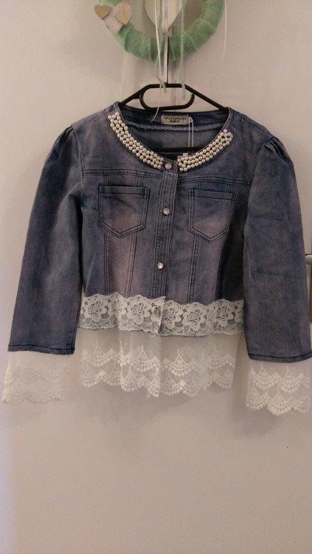 süße Jeansjacke mit Spitze und Perlen    Kleiderkorb.de 9cfd56d8d0