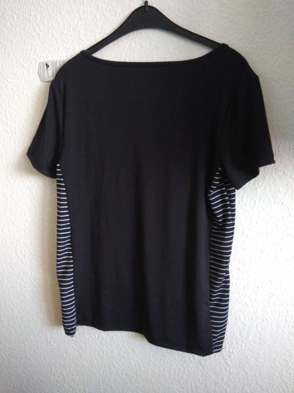1e75bc7272f0d5 Crivit - schwarzes Sport-T-Shirt mit seitlichen weißen Streifen ...