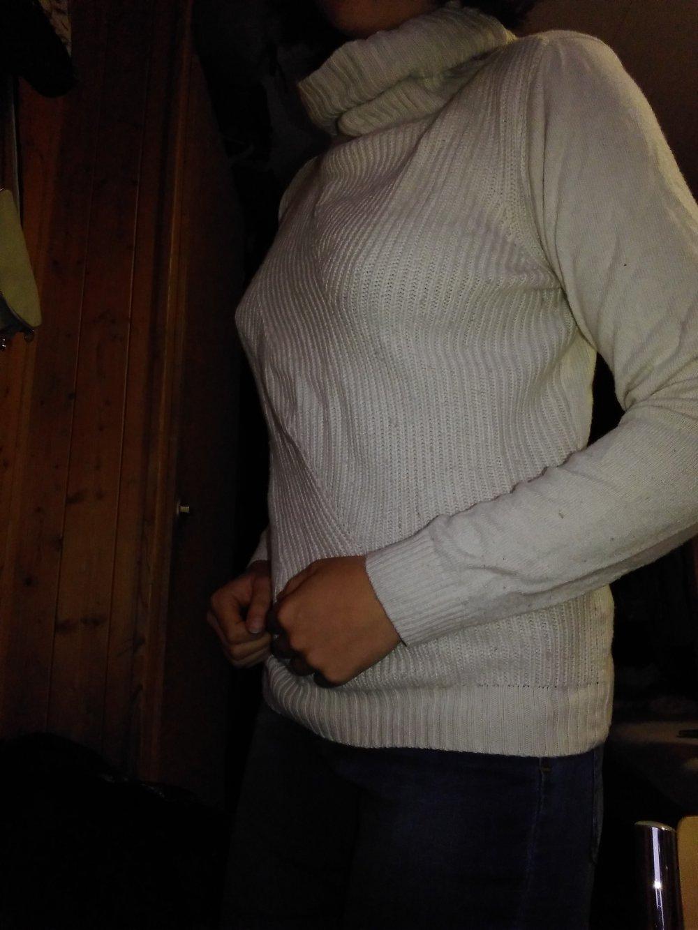 low priced b73ef 1726c Weisser Pullover mit Kragen
