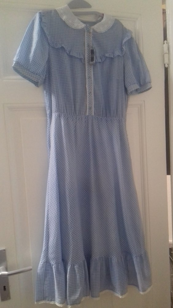 Unbekannt Etikett Fehlt Vintage Midi Kleid Grosse 38 40 Blau Weiss