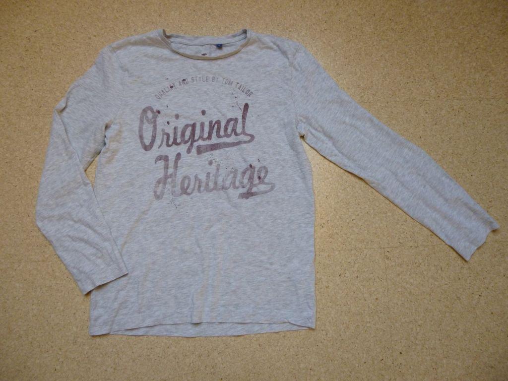 Langarmshirt Tom Tailor Gr. 164 158 grau Jungen vintage hellgrau Pullover Sweatshirt