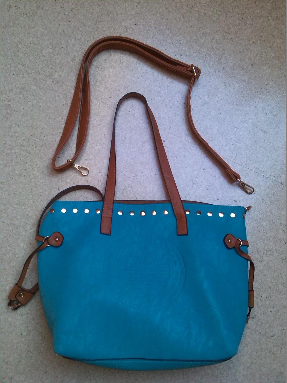 e42804146202f ... Tasche Handtasche Shopper türkis braun blau Umghängetasche Kunstleder  ...