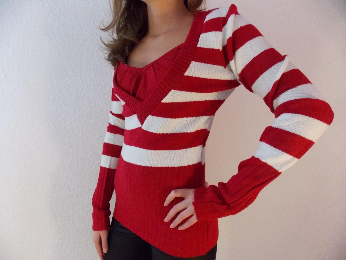 quality design 29375 32d9f Damenpullover Strickpullover Pullover Damen gestreift rot-weiß Gr. M/L