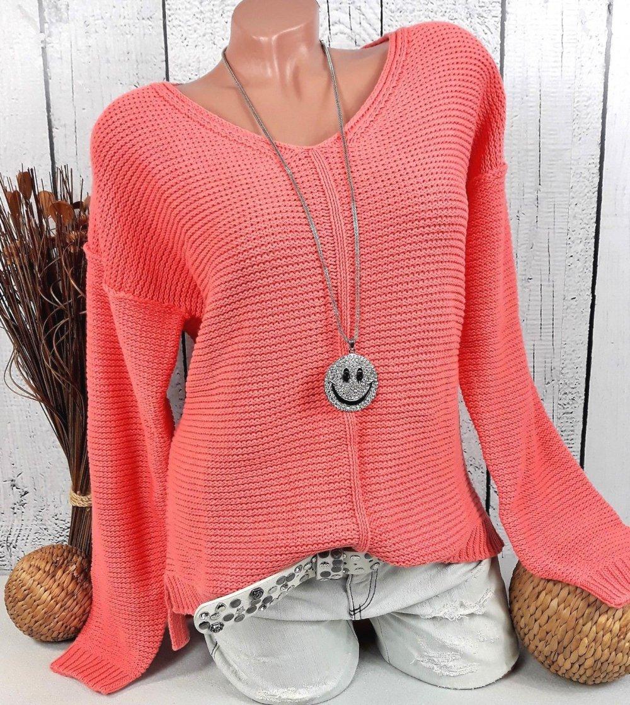 db6040bb3b28 ... Weicher Damen Grob Strick Pullover Pulli in apricot   koralle Größe 44 .