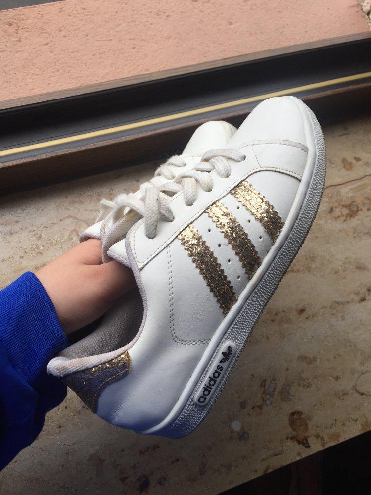 Adidas sneaker Schuhe in weiß Gold Glitzer gr. 37