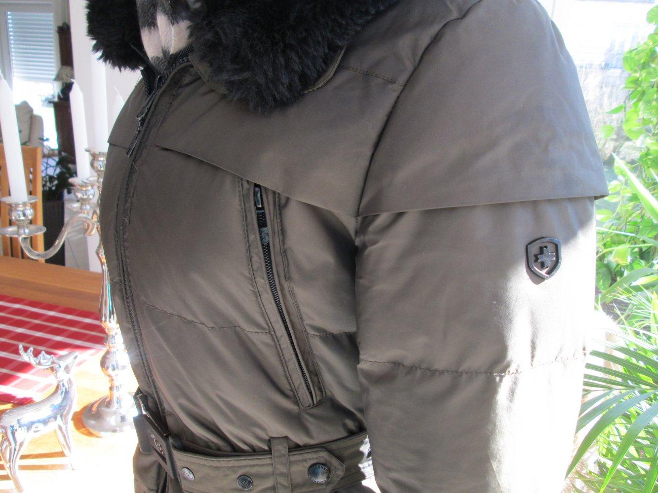 Wellensteyn Tivoli Jacke Parker Gr. XS 34 Winterjacke Fell Pelz Tivana olive khaki