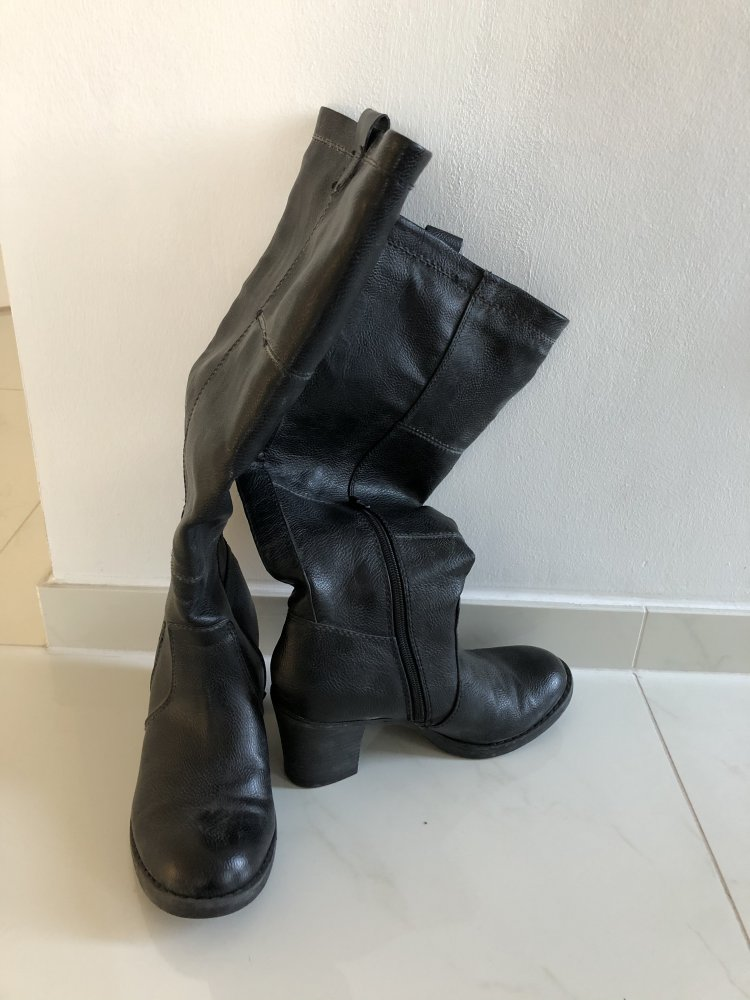 Damen Stiefel, Leder, Gr. 37 38, Absatz 8 cm, wenig getragen