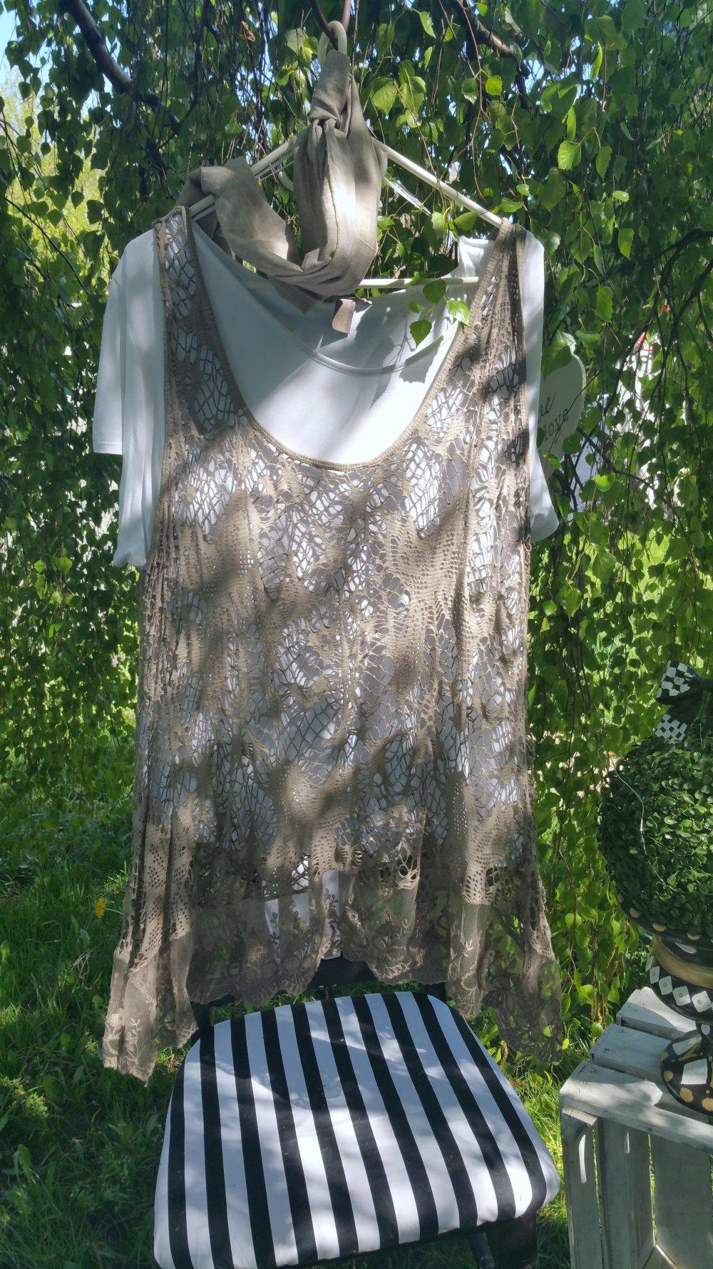 44 46 48 XL XXL NEU Longtop offwithe Top Spitze Shirt lockere Passform Gr 1f