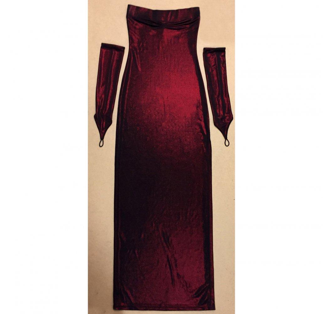 dunkelrotes Abendkleid mit Seitenschlitz und Handschuhe, Gr. 20