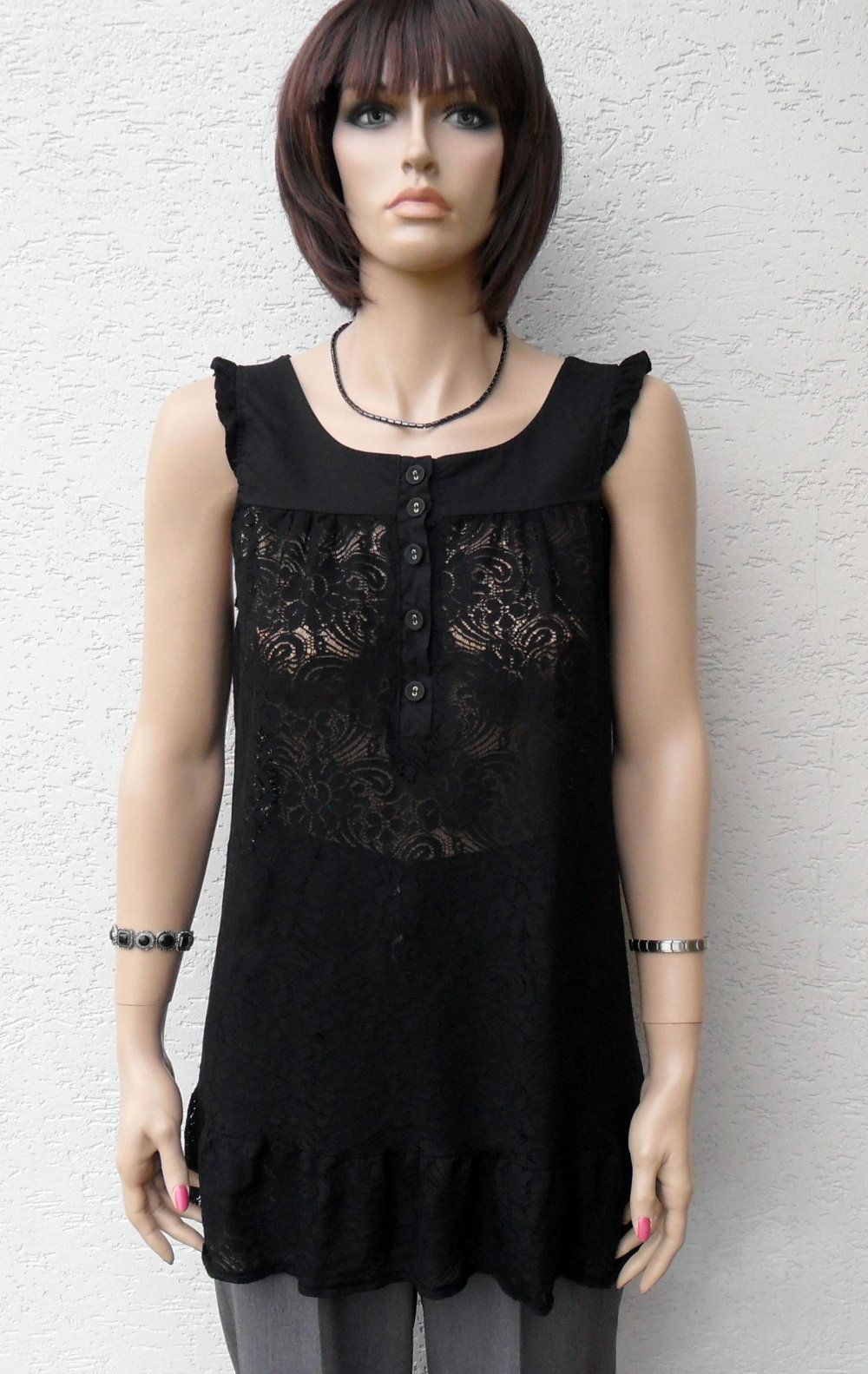8f52ab1db3d8a8 Romantisches Tüll Top schwarz Stretch Gr.38 Transparent Spitzen Gothic