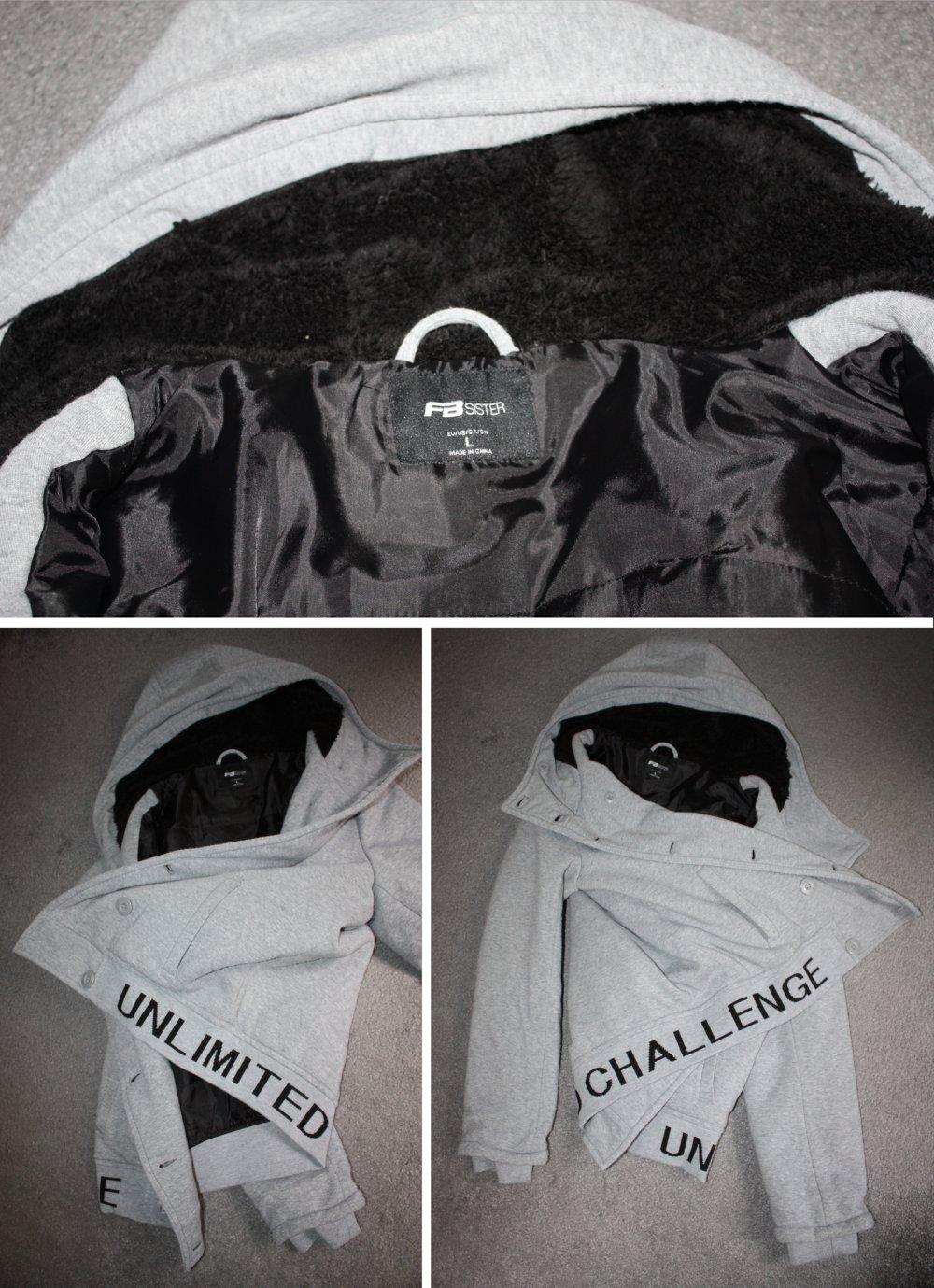New Yorker Jacke Sweatjacke gefüttert grau meliert schwarz Größe L