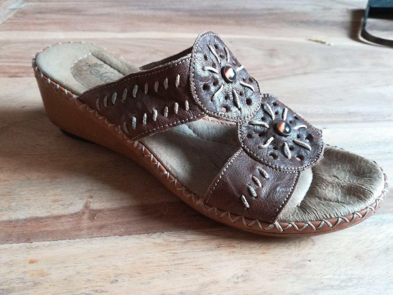 Boho Sandalen mit kleinem Absatz