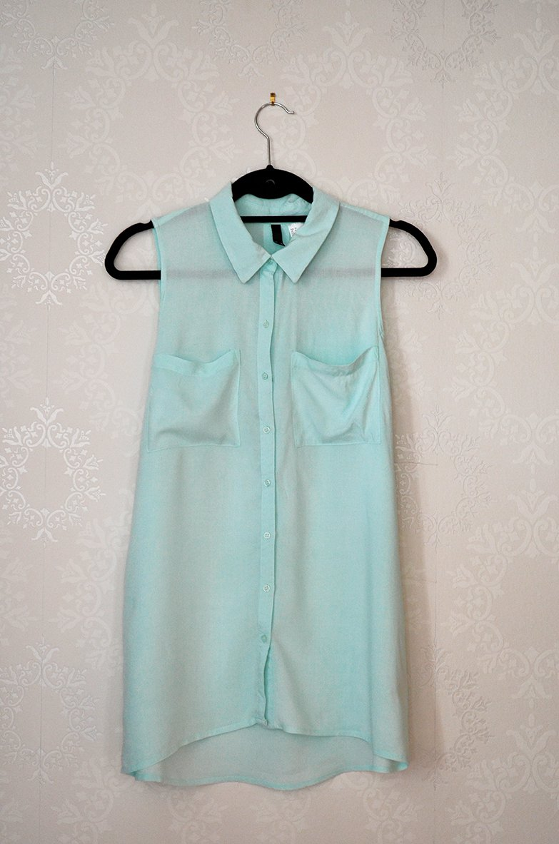 quality design caf28 e47ae Bluse H&M Divided Ärmellos Mint Pastell Semitransparent Kragen