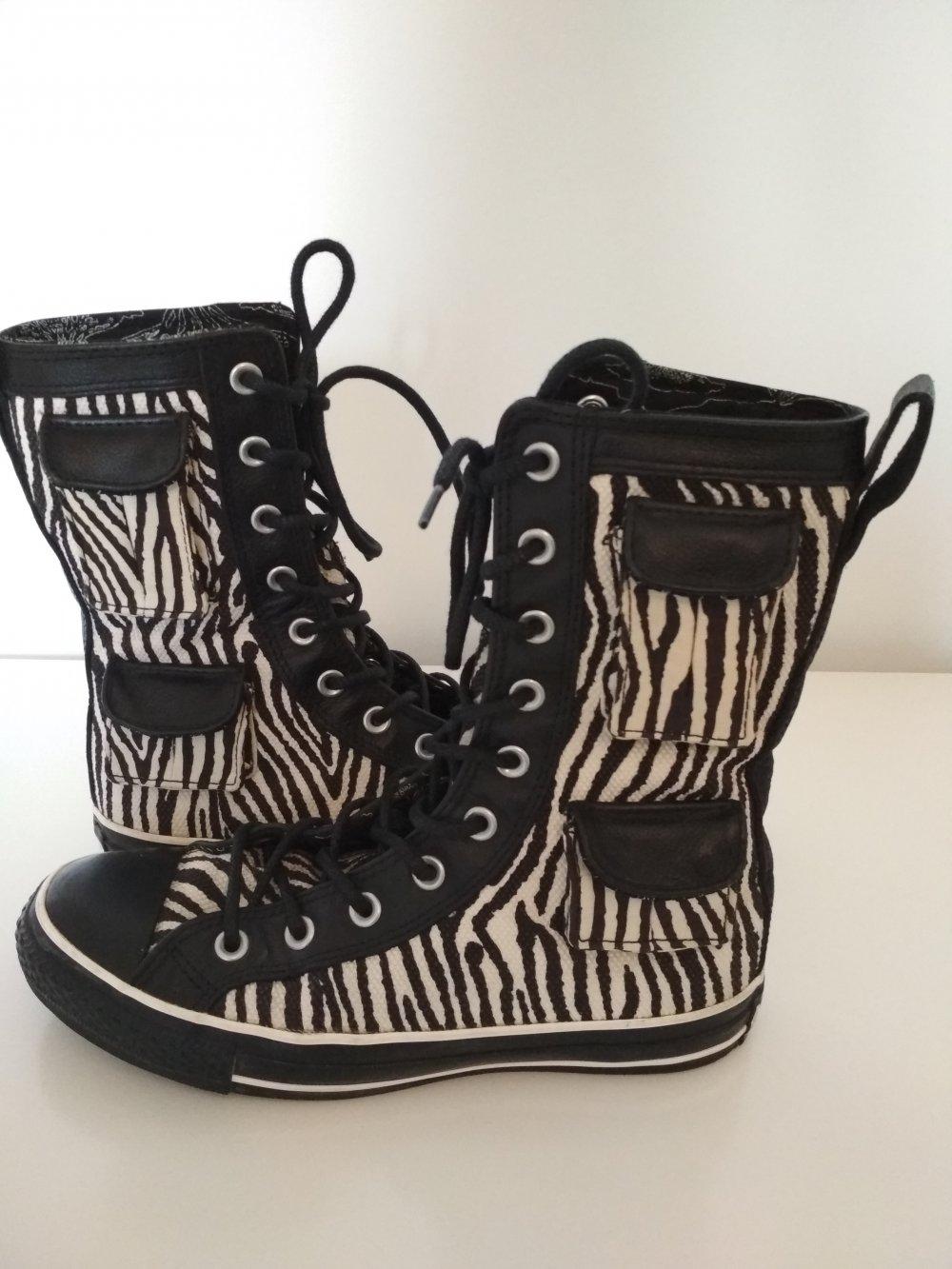 Converse Chucks Xhi Gr. 38 Limited Edition schwarz cremeweiß Zebra Stiefel