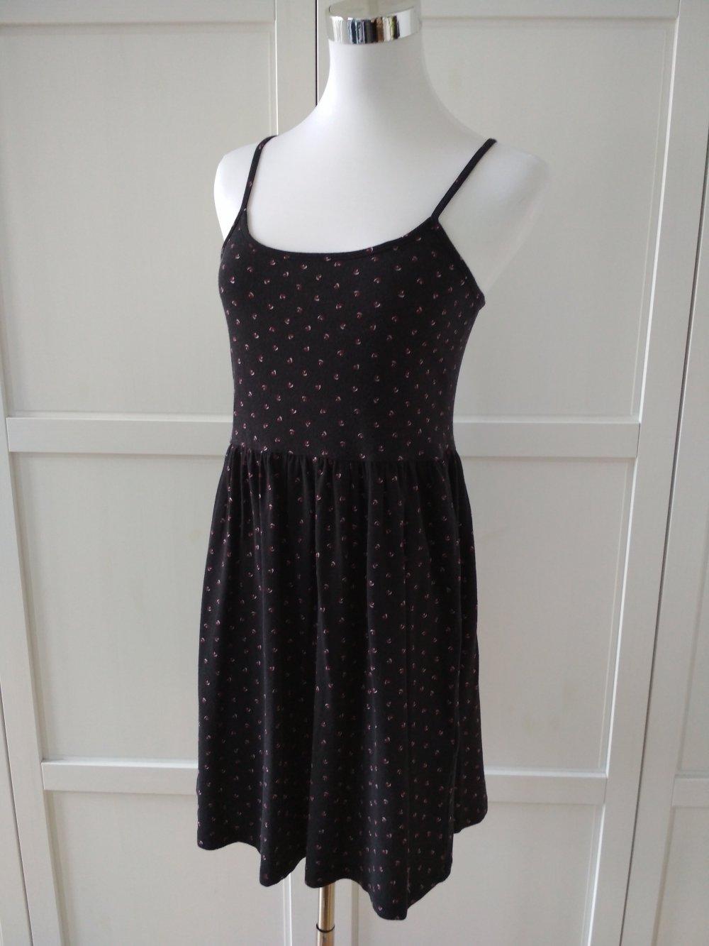clockhouse kleid gr. m schwarz minikleid trägerkleid sommerkleid herzchen