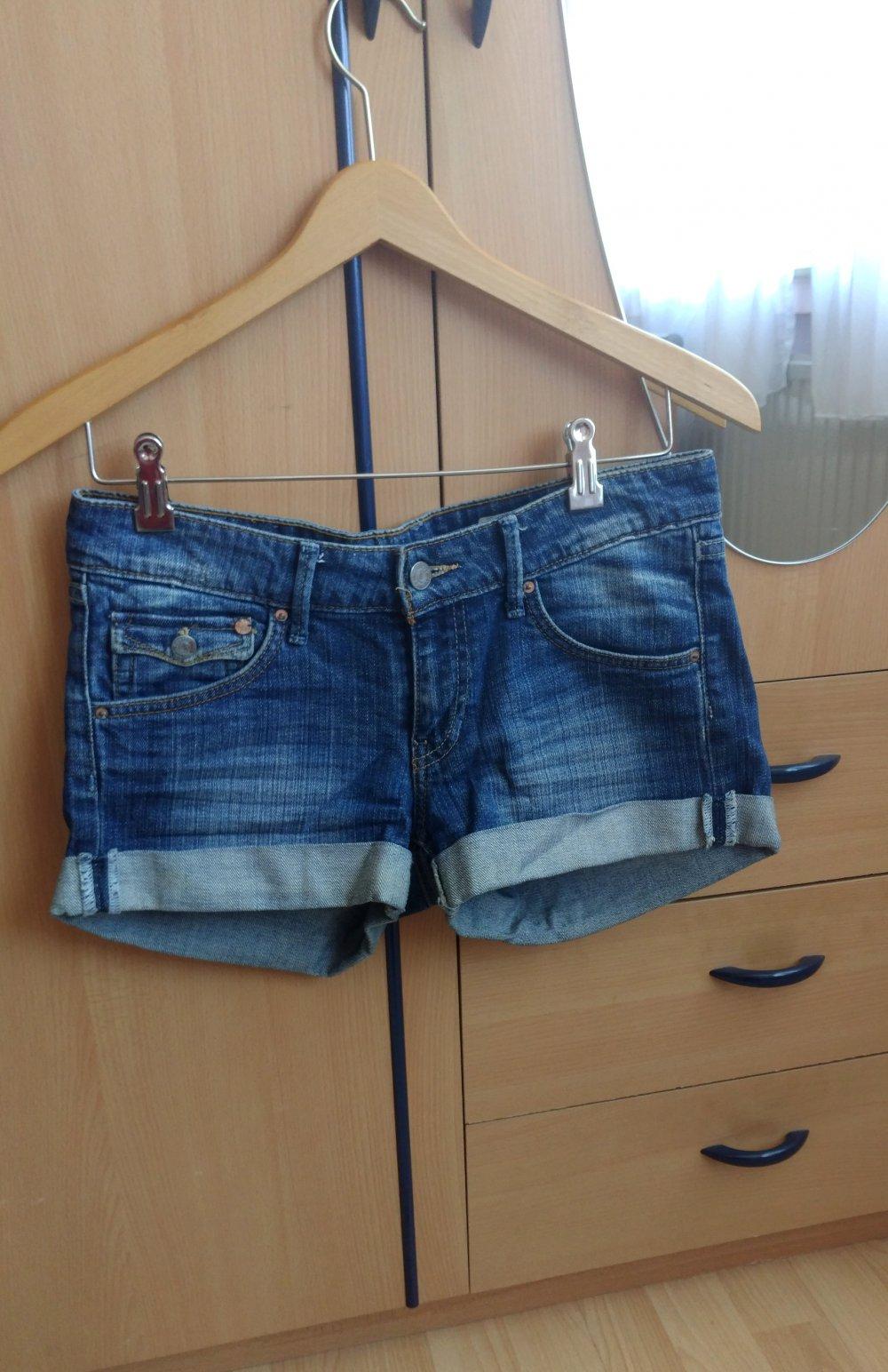 Blaue verwaschene Jeansshorts H&M used Look 36 S Damen