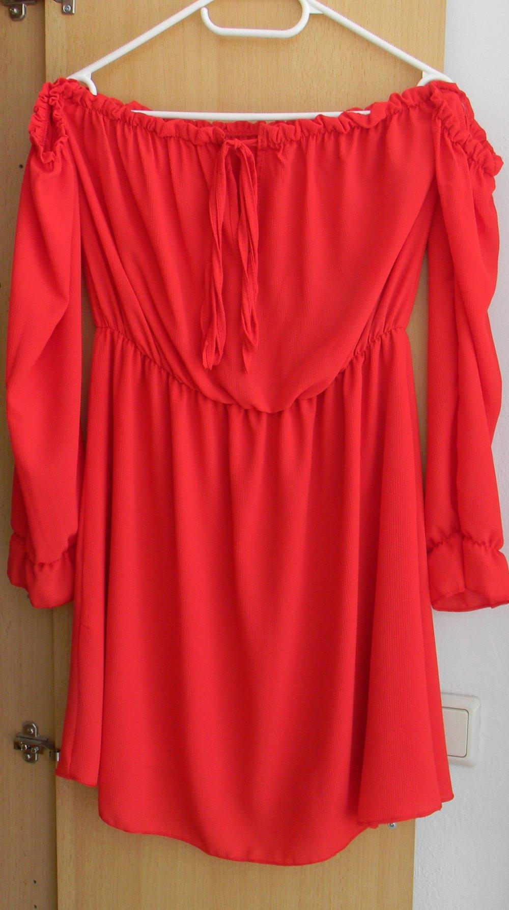 Seamlessfashion Off Shoulder Kleid rot Rüschen ...