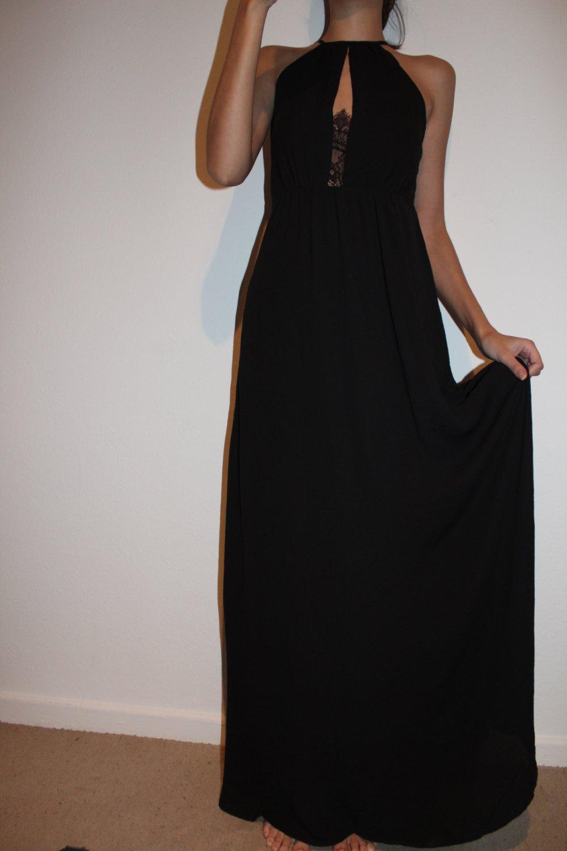 langes kleid mit spitze neu h&m abikleid abendkleid