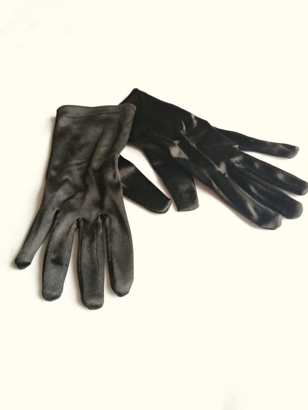 4516fa2b87189c ... Glänzende schwarze Satin Handschuhe Pantomime Karneval Fasching  Tanzmariechen .