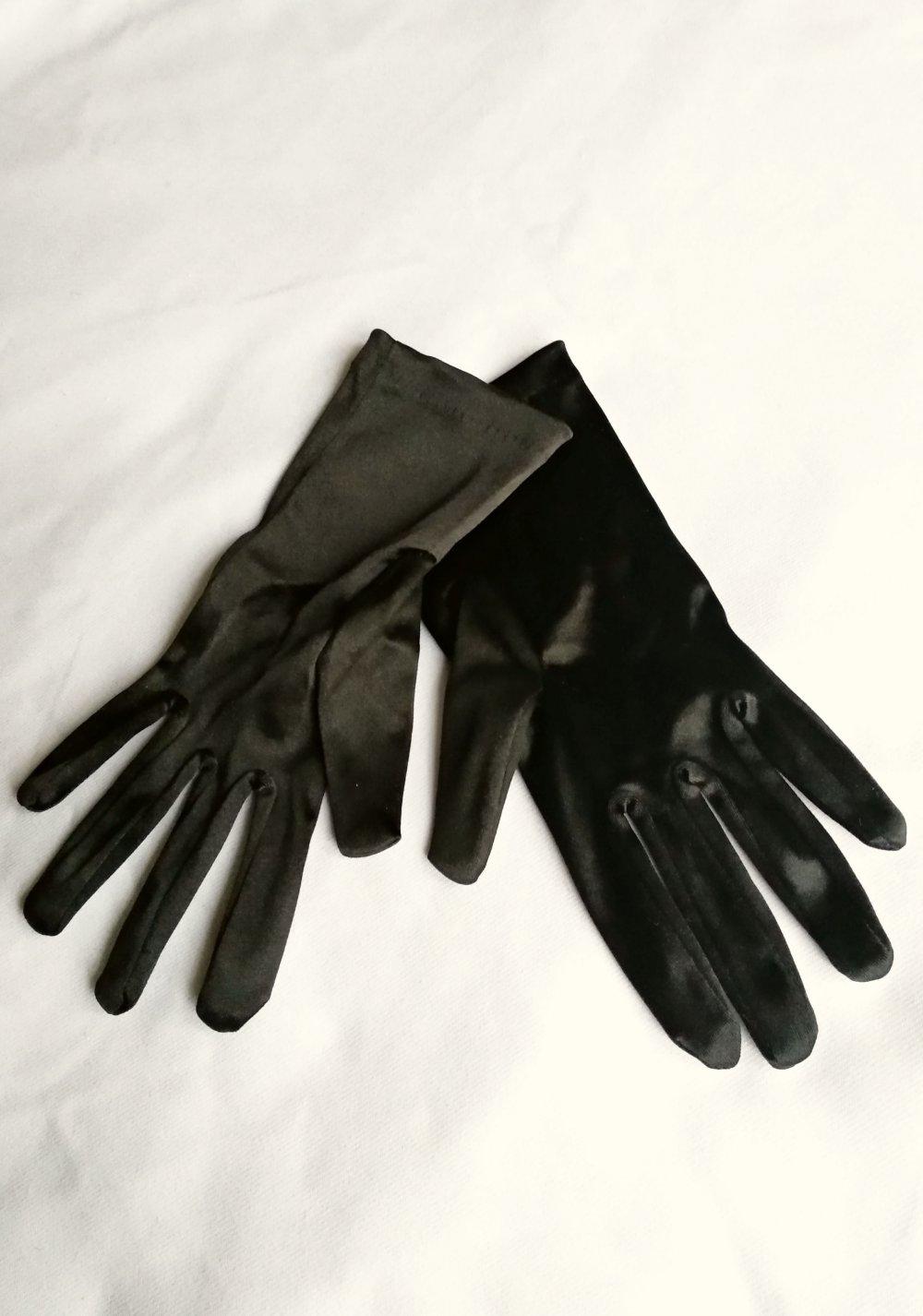 0ee1a4a3c46e30 Glänzende schwarze Satin Handschuhe Pantomime Karneval Fasching  Tanzmariechen ...