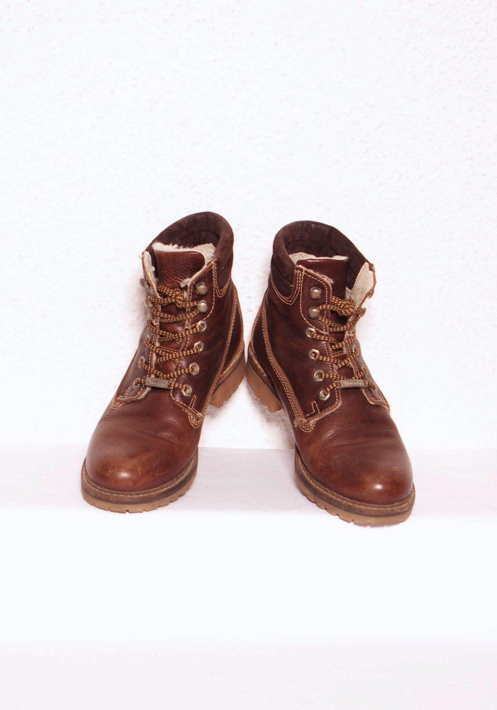 Kurze Tamaris Stiefeletten Gr. 39 Plüschfutter Winter Ankle Boots Combat gefüttert
