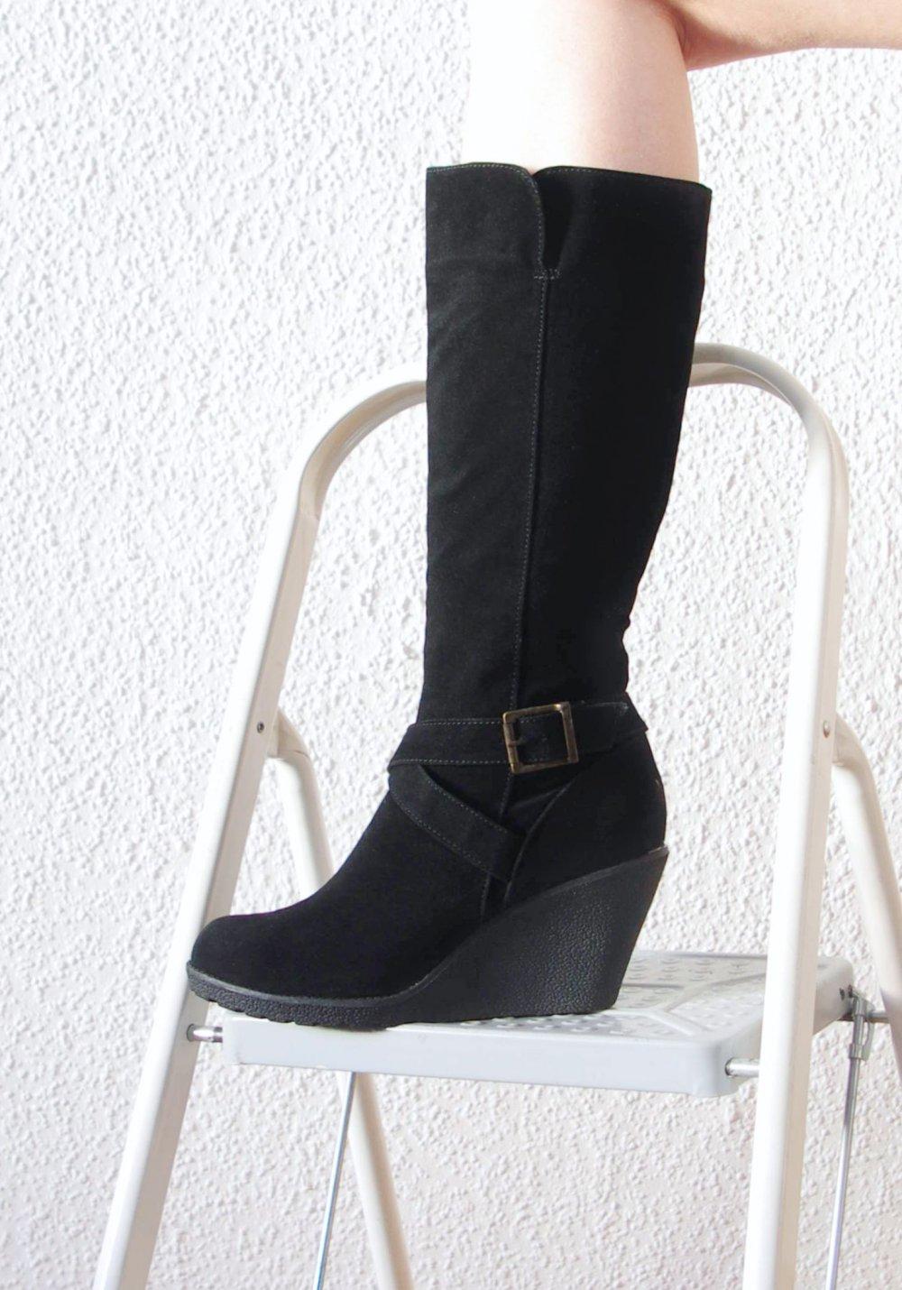 Wedge Elegante Gothic Stiefel Boots Gr42 41 5 Plateau