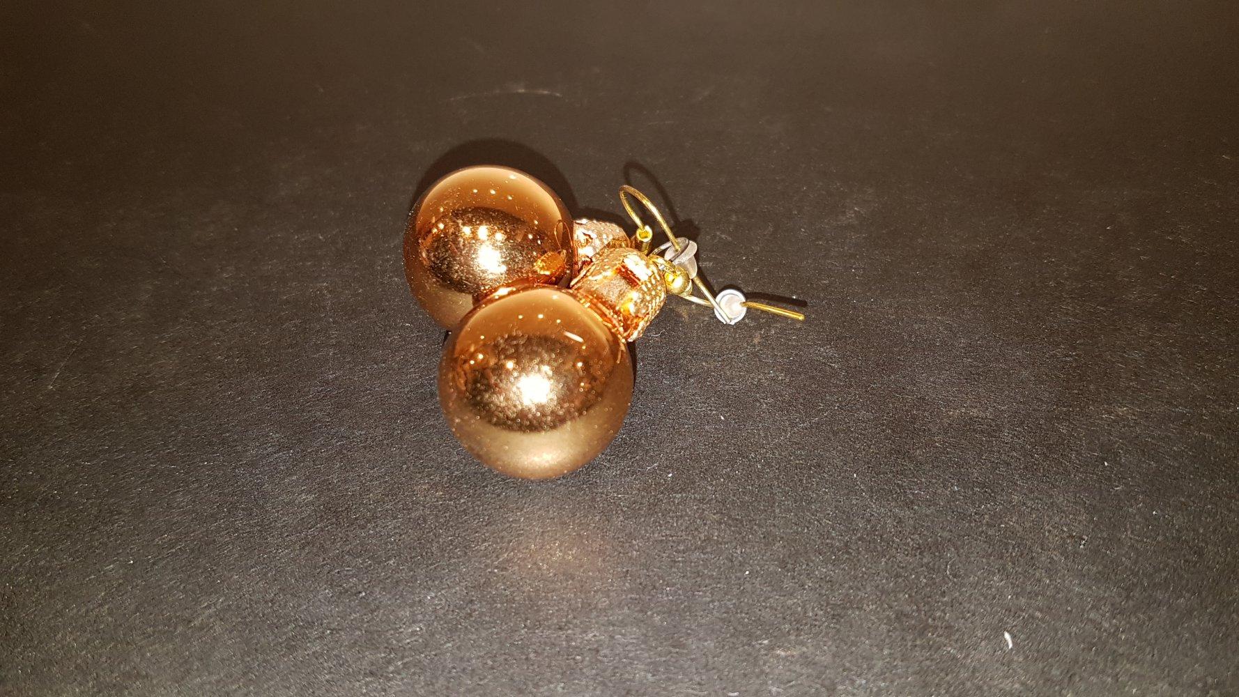 Weihnachtskugeln Rot Gold.Ohrringe Weihnachtskugeln Rot Gold
