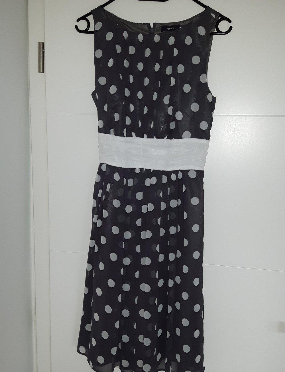 cocktailkleid grau mit weißen punkten und weißer schleife