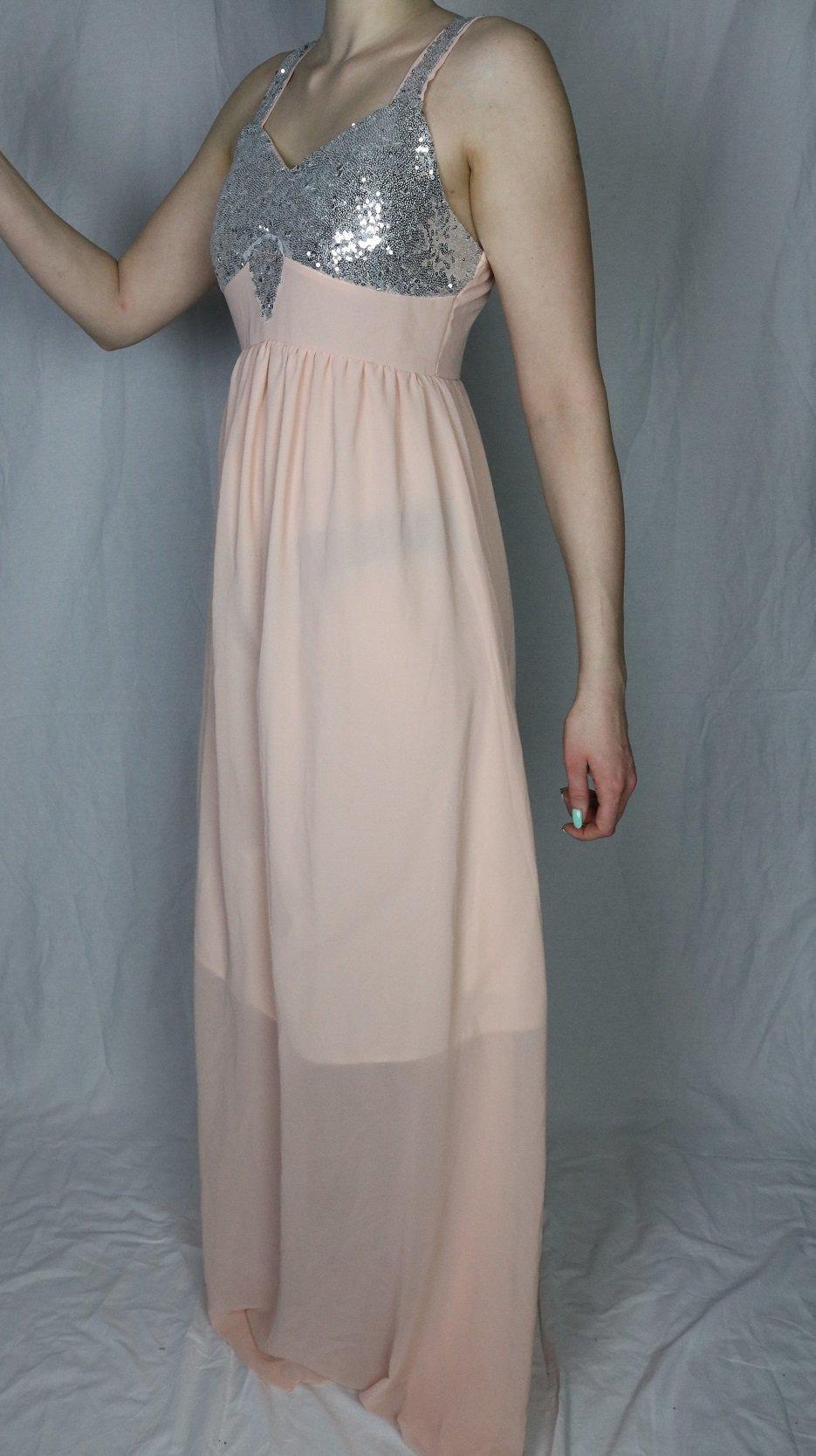 kleid ballkleid abiball, rose, rosa, apricot, glitzer, pailletten, lang,  hochzeit, brautjungfer, hochzeitskleid