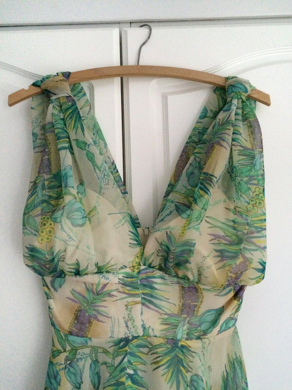 Original Vintage Neckholder Kleid Chiffon Blumen Floral Animal Print ...