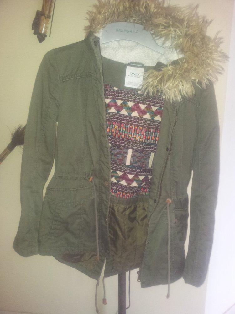 neue Produkte für elegante Form 100% Zufriedenheit Only Winterjacke Parka Jacke Khaki grün Größe L