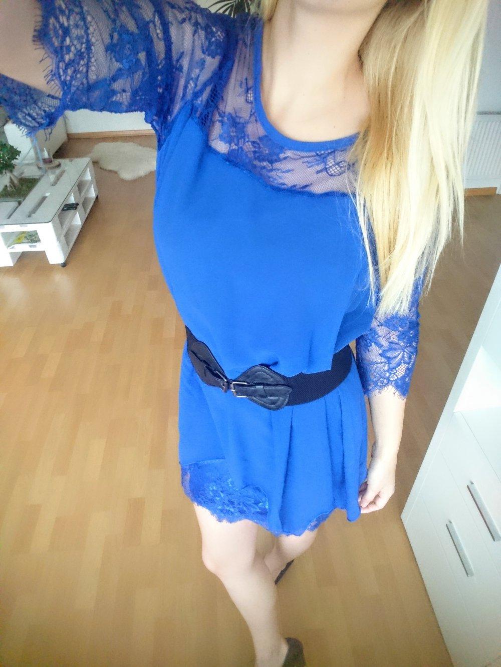 hübsches blaues kleid mit spitze mesh silvester neu