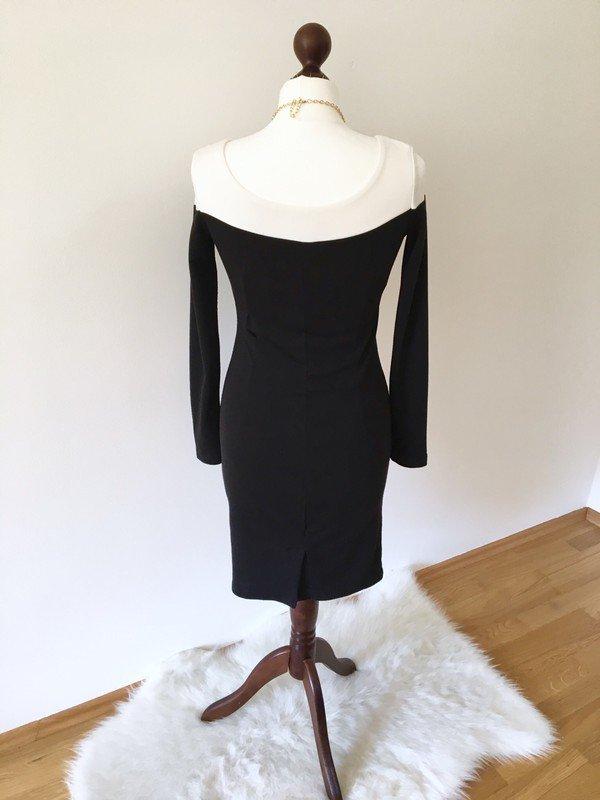 Kleid Neu schwarz weiß Businesskleid Dress Cocktailkleid Langarm ...