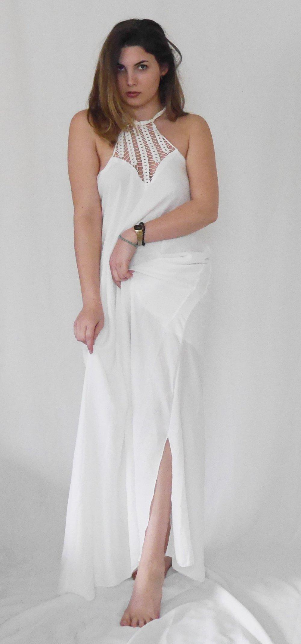 newest cb61a 960dd weißes langes Kleid mit Häkeleinsatz